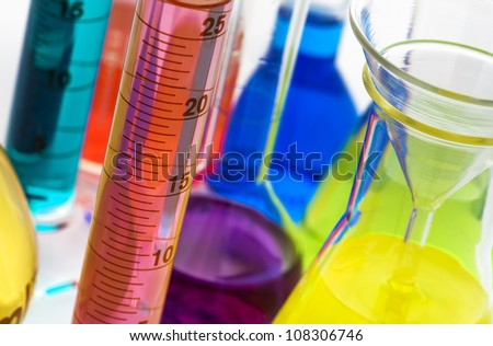 Laboratory glassware equipment in a science research lab