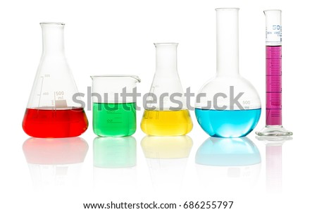laboratory glassware filled with colorful liquid on white background