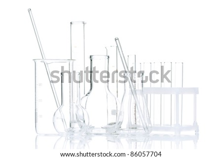 Laboratory glassware for liquids on white background