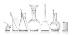 Laboratory glassware isolated on white. Chemical analysis