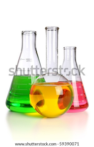 Laboratory glassware over white background - With clipping path