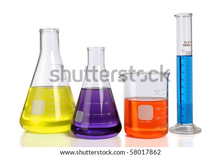 Laboratory glassware over white background with table reflections - With clipping path