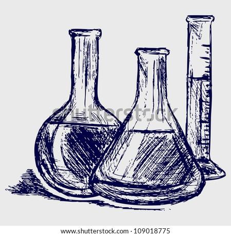 Laboratory glassware. Raster