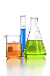 Laboratory glassware with beaker, flask and graduated cylinder - With clipping path