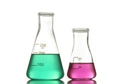 Laboratory glassware with chemicals isolated on white background