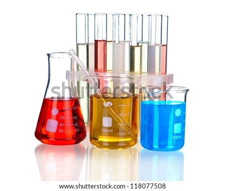 Laboratory glassware with reflections on table isolated over white background