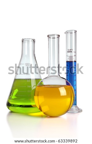Laboratory glassware with reflections on table isolated over white background With clipping path on glass