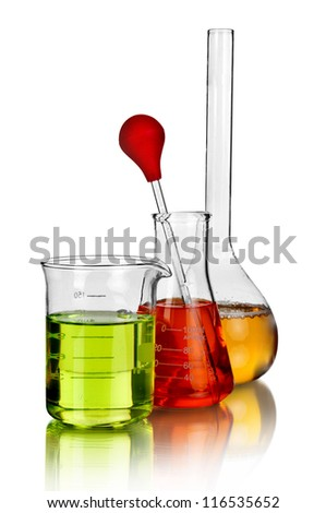 Laboratory glassware with reflections over white background