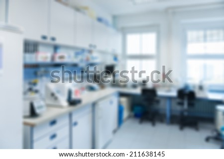 Laboratory interior out of focus, template for a poster, webpage or leaflet