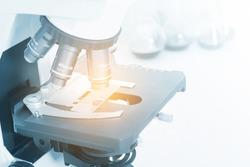Laboratory Microscope. Scientific research background.