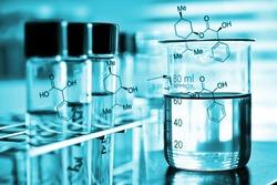 Laboratory research, chemical liquid in laboratory glassware