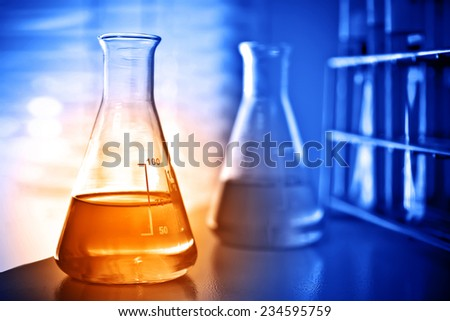 Laboratory research, flask containing chemical liquid