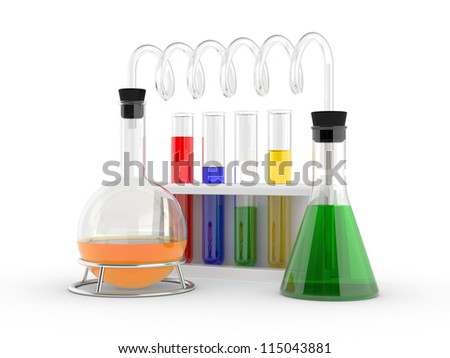 laboratory test tubes with reagents on a white