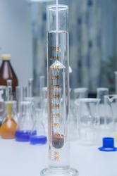 Laboratory thermometer, hydrometer and measuring cylinder