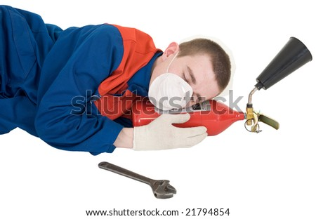 Labourer with fire extinguisher on a white background