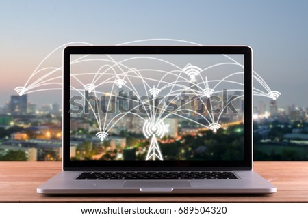 labtop and city scape and network connection concept