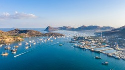 Labuan Bajo Harbour. Where the Komodo Dragon trip begin. Labuan Bajo is a fishing town located at the western end of the large island of Flores in the Nusa Tenggara region of east Indonesia.