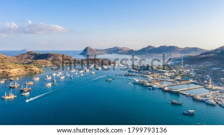 Labuan Bajo Harbour. Where the Komodo Dragon trip begin. Labuan Bajo is a fishing town located at the western end of the large island of Flores in the Nusa Tenggara region of east Indonesia. Photo stock ©