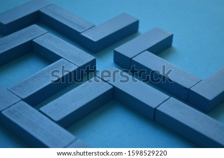 Labyrinth concept. Abstract pattern made blue wooden bricks. Stalemate or deadlock. Labyrinth game. Find exit. Modern art. Labyrinth and making decisions. Сток-фото ©