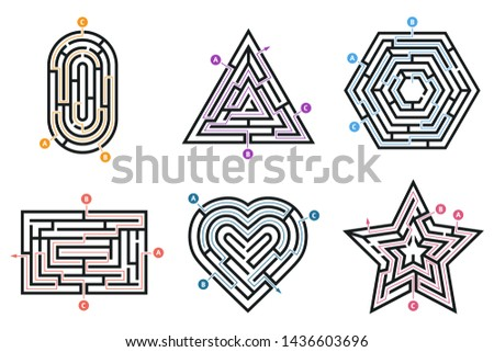 Labyrinth conundrum. Searching way, many ways directions maze and labyrinths child game. Entrance path level conundrum, child thinking exit and entry exercise isolated  icons set