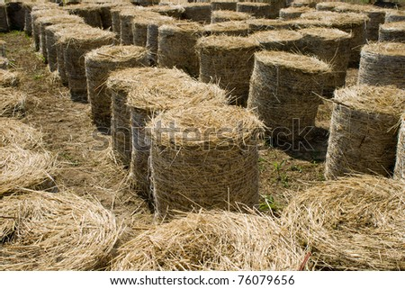 Labyrinth for children made from dry straw bales