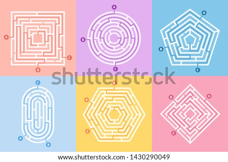 Labyrinth game. Maze conundrum, labyrinth way rebus and many entrance riddle. Arcade labyrinths games, right or wrong paths and doors entrance leisure challenge.  concept illustration set