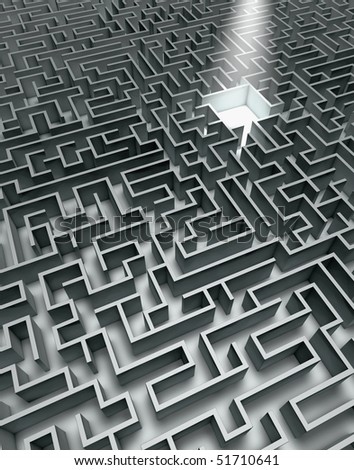 Labyrinth in grey with shades and sunbeam