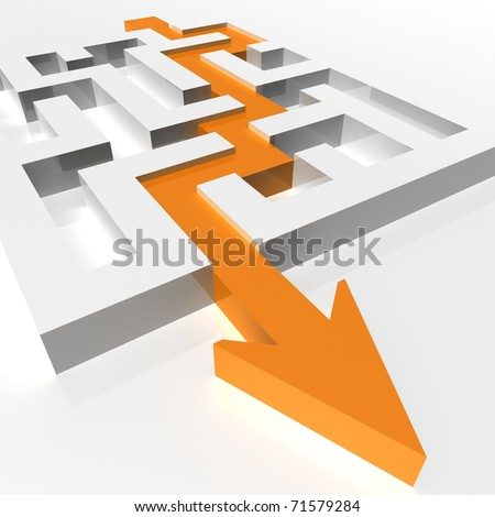 labyrinth of transparent blocks through which the orange arrow. 3d computer modeling