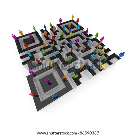 Labyrinth shape of QR code and colorful 3d small people upstairs.Isolated on white background.