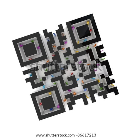 Labyrinth shape of QR code with colorful 3d small people inside.Isolated on white background.
