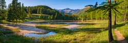 Lac de Roue lake in the Queyras Nature Park late Spring -early Summer (panoramic). Hiking site near Arvieux in the Hautes-Alpes, French Alps, France