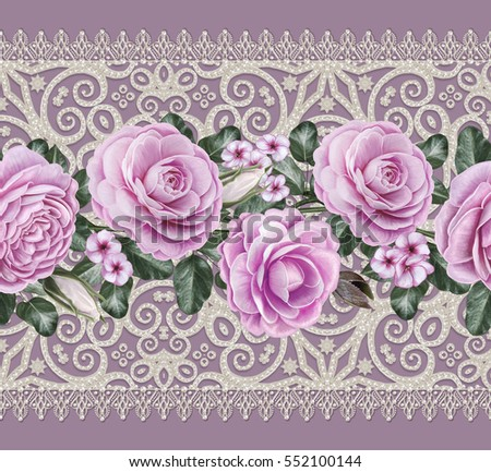 Lace background. Abstract square geometric lace pattern with ornate frame. Openwork texture curls, beads, pearls. Bandanna, scarf, shawl. Seamless pattern. Flower garland, pink roses, camellias.