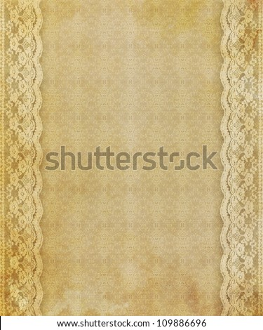 Lace background, lace side borders with aged effect.