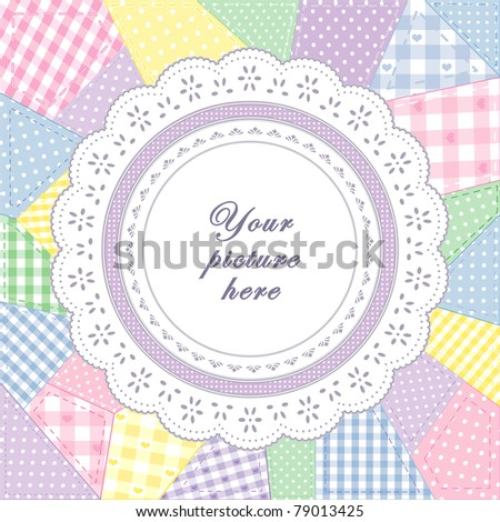 Lace Doily Frame, patchwork quilt, round eyelet, pastel gingham, polka dot fabric, applique embroidery. Copy space to customize with your favorite picture, text. For scrapbooks, albums, baby books.