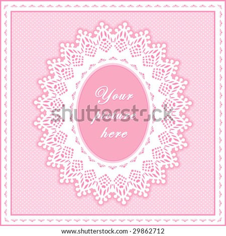 Lace Doily Frame. Vintage white eyelet design pattern, oval copy space to add picture or text, pastel pink polka dot background for baby albums, scrapbooks, do it yourself crafts, decorating.