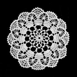 Lace doily isolated on black background