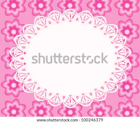 Lace frame with pink flowers, raster illustration. - stock photo