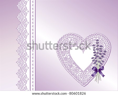 Lace Heart, Antique Satin Present, Victorian style gift wrap, Sweet Lavender flower bouquet, violet ribbon, bow. Gift card, copy space for Mother's Day, birthday, anniversary, shower, weddings.
