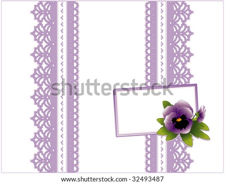 Lace Present, Victorian style, lavender on white background. Gift card with violet pansy flower, copy space to add your greeting for Mother's Day, birthdays, anniversaries, showers, weddings.