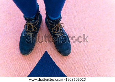 Laced boots co-ordinating with blue carpet pattern #1509606023