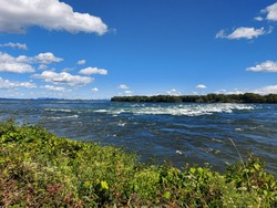 Lachine Rapids view seen from the Rapids Park in Montreal, Quebec, Canada on s sunny summer day
