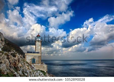 "LACONIA, PELOPONNESE, GREECE - March 5, 2012. The legendary lighthouse of Cavomalias (""Cape Maleas""), Vatika region. #1052890028"