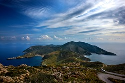 LACONIA, PELOPONNESE, GREECE. Panoramic view of Cape Tainaron (or