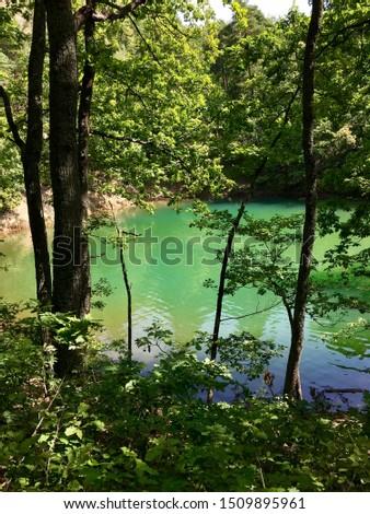 Lacul Albastru (Blue Lake) Baia Sprie - Maramures Imagine de stoc ©