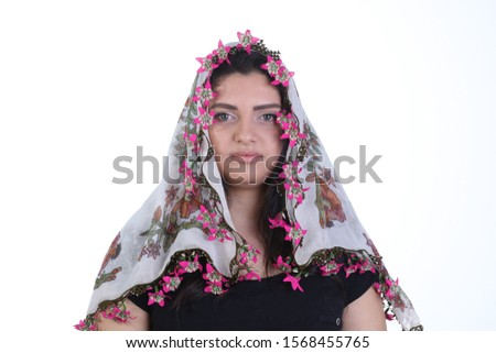 lacy girl in traditional headscarf Stok fotoğraf ©