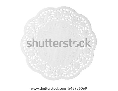 Lacy white paper napkin isolated on white background Сток-фото ©