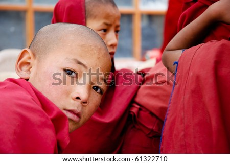 LADAKH, INDIA - JUL 15: Unidentified monk in Rizong, July 15, 2009. Census reveals that the Buddhists share of Ladakh population has dropped from 53.83 to 45.87% over the past 4 decades. (Daily Times)