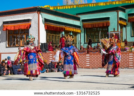 Ladakh, India, 22 Oct 2014. Cham is a type of sacred dance unique to the Indo-Himalayan Buddhist culture. The dances offer moral instruction and are carried out to give merit to all who perceive it. #1316732525