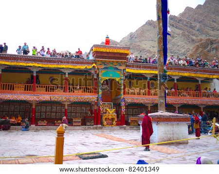 LADAKH, JAMMU AND CASHMIR/ INDIA-JULY 10: Hemis Monastery on the Hemis Festival Day on July 10, 2011 in Ladakh.  It is the biggest and wealthiest  monastery in Ladakh.
