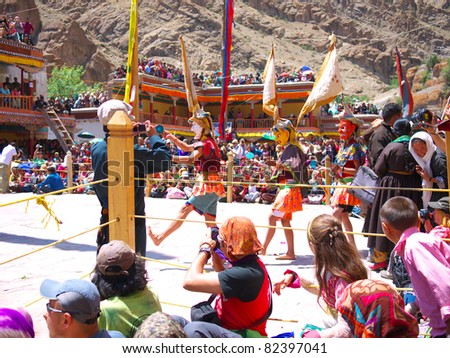 LADAKH, JAMMU AND CASHMIR/ INDIA -JULY 10: There is also a devil dance that acts as an important part of the social entertainment of the Ladakh people in Hemis Festival  on July 10, 2011 in Ladakh.